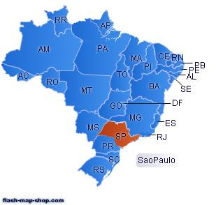 Interactive Brazil Flash Map Driven by XML.