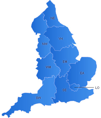 England Flash Map(Regions)